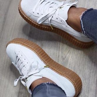 shoes fenty fenty x puma creepers fenty creepers white puma rihanna shoes rihanna pumas white sneakers puma sneakers rihana fenty x puma