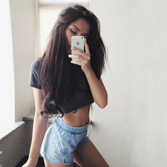 shorts crop tops brunette indie iphone belly shirt