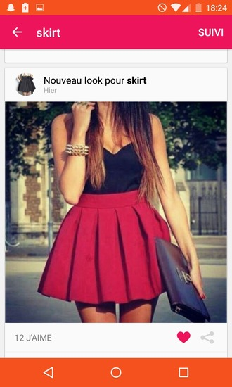 skirt red red skirt chic fashion dress red fit and flare skirt black sweetheart neckline