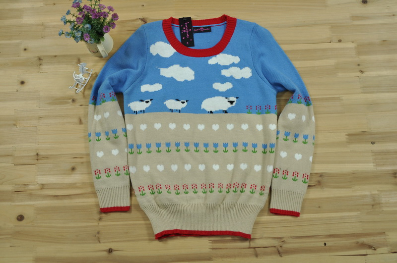 Sheep cloud pattern jumper fashion beautiful girls like sweater knitted pullover