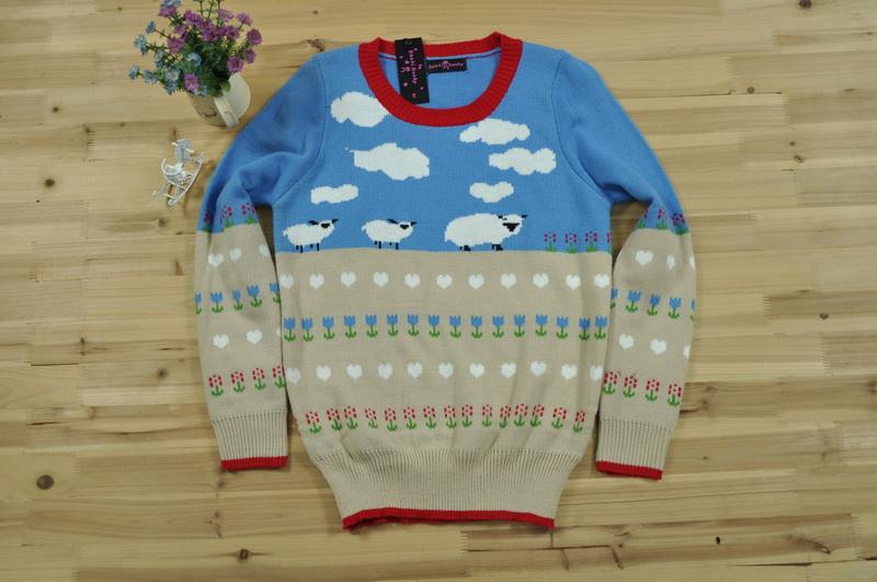 Sheep Knitting A Sweater : Sheep cloud pattern jumper fashion beautiful girls like