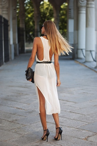 dress white dress open back cut-out dress see trough summer dress black belt leather clutch long hair blonde hair tanned girl sunglasses backless backless dress classy dress elegant dress truebeautyg