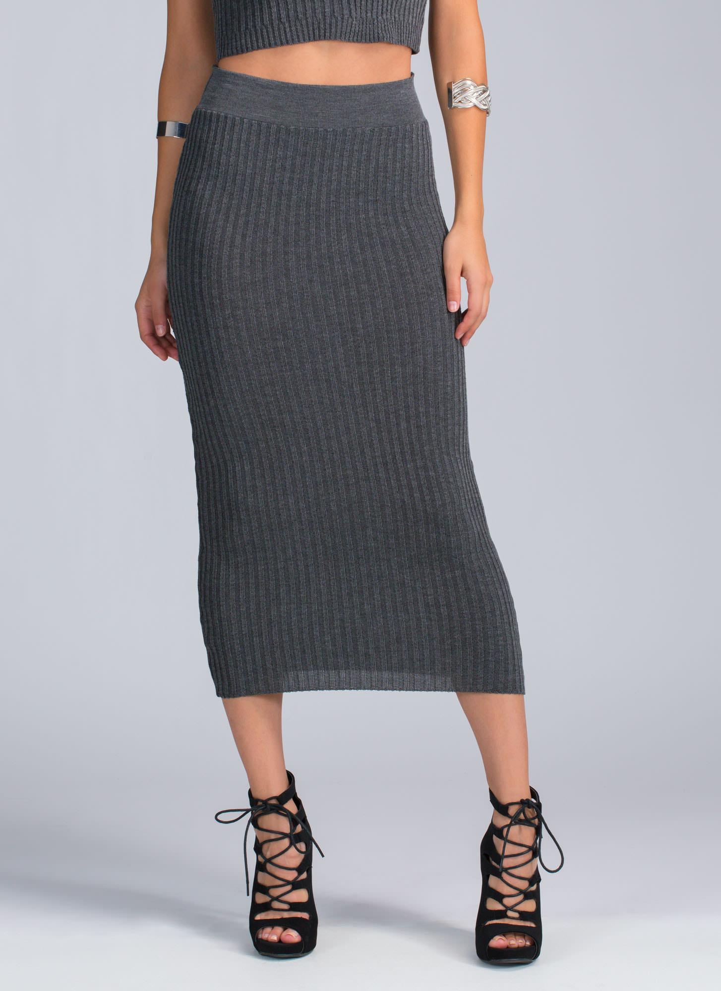 Baby Rib Knit Midi Skirt BURGUNDY OLIVE CHARCOAL - GoJane.com