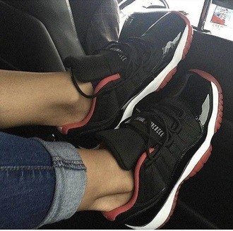 shoes nike jordans black red