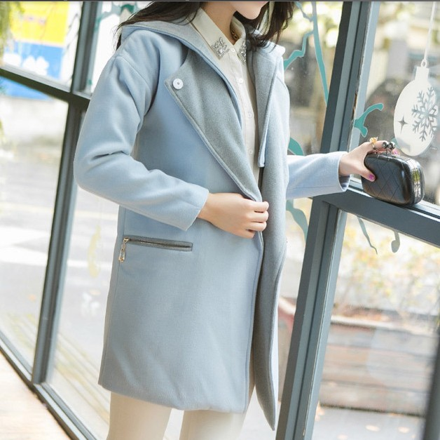 Contrast Color Casual Hooded Cashmere Long Section Woolen Coat For Women on Luulla