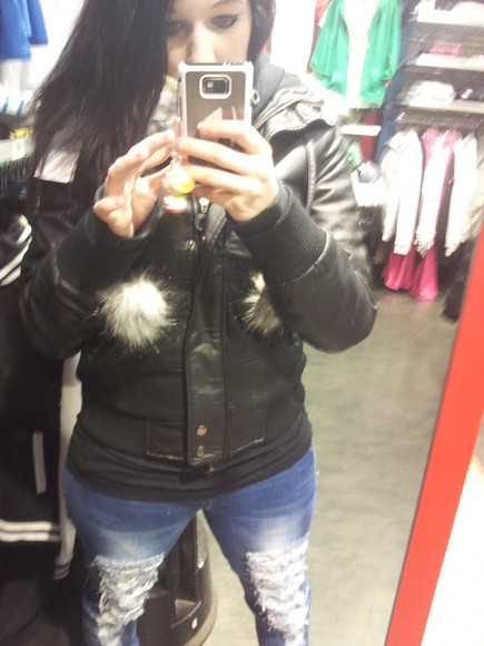 jacket pompom leather jacket leather faux fur