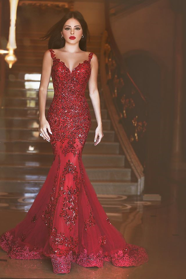 f34248d3e7 Aliexpress.com : Buy Brilliant Sexy 2016 Red Fashion vestidos de noite V  Neck Backless Sequined Lace Appliques Tulle Mermaid Long Prom Dresses from  ...