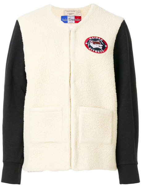 maison kitsune cardigan cardigan women white wool sweater