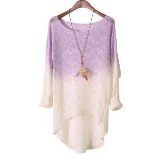 Amazon.com: Imixcity Women Knitted Sweater Gradient Batwing Sleeve (Purple): Clothing
