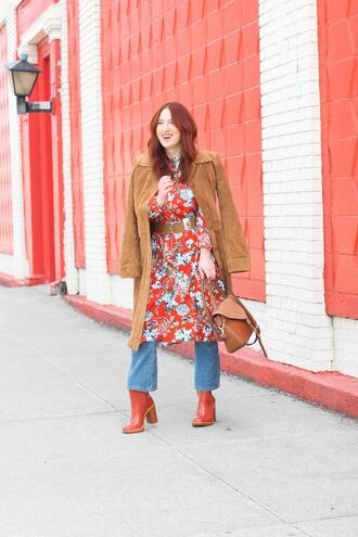 tf diaries blogger jacket dress jeans shoes bag belt floral dress ankle boots spring outfits