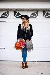 all dolled up,blogger,top,jewels,bag,sunglasses,hat,shoes,fringed bag,grey bag,felt hat,ankle boots