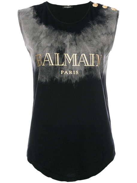 Balmain - branded sleeveless top - women - Cotton - 38, Black, Cotton