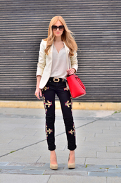 oh my vogue,jacket,t-shirt,jeans,shoes,belt,bag,jewels,sunglasses,embroidered jeans