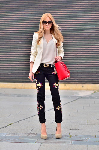 oh my vogue jacket t-shirt jeans shoes belt bag jewels sunglasses embroidered jeans