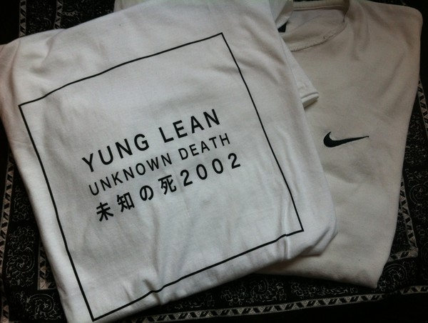 t-shirt unknowndeath yung lean shirt nike top chinese letters black and white