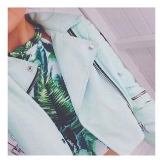 jacket mint zipup collared shirt