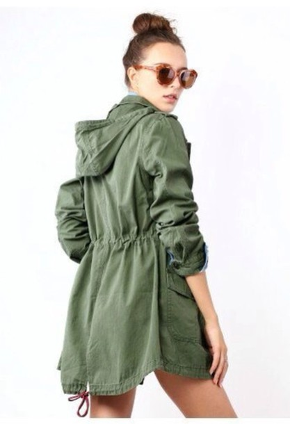 coat green jacket parka utility jacket