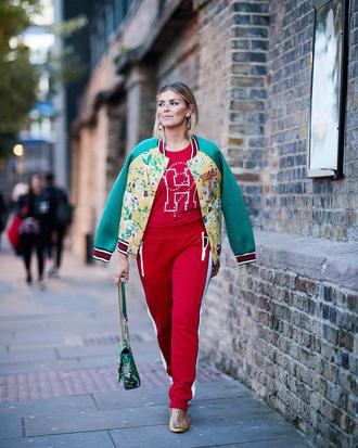 top tumblr red top sweatshirt jacket floral floral jacket bomber jacket pants red pants side stripe pants streetstyle