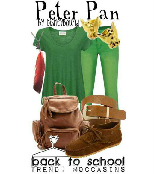 green pants bag green shirt peter pan feather moccasins