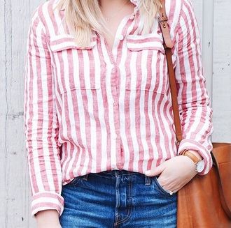 top white and red button up top