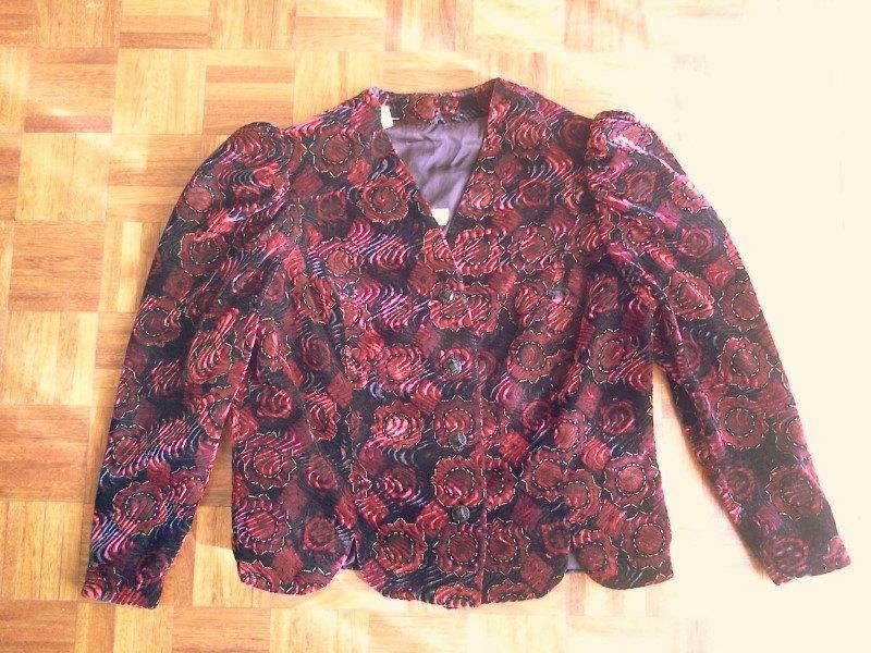 70s floral velvet jacket size large / vintage velvet jacket / vintage blazer