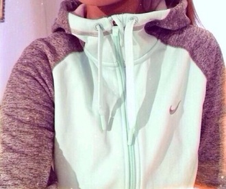 jacket nike sweater purple and white grey sweater teal sweatshirt hoodie blonde girl mint zip up