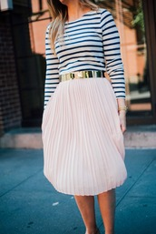skirt,gold belt,tumblr,midi skirt,pleated,pleated skirt,belt,top,stripes,striped top