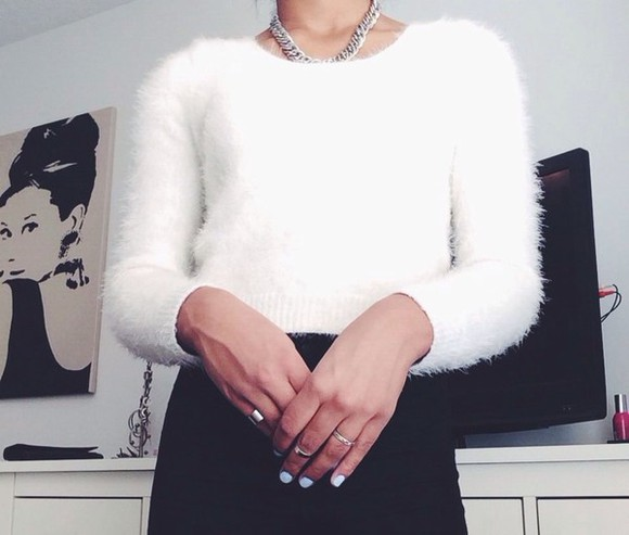 flashes of style fashion girly outfit white sweater fluffy sweater soft classy casual white tank top, black, white, ootd, #ootd, cute chanel sweater