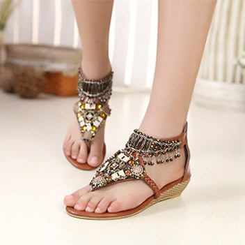 Bohemian Styles Brown PU Upper Flat Heels Women Sandals with Rhinestones