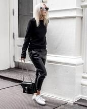 sweater,black sweater,knitted sweater,pants,black pants,cropped pants,sneakers,white sneakers,shoulder bag,sunglasses
