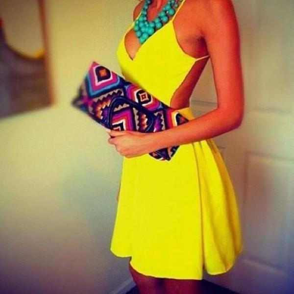 dress yellow dress sexy dress