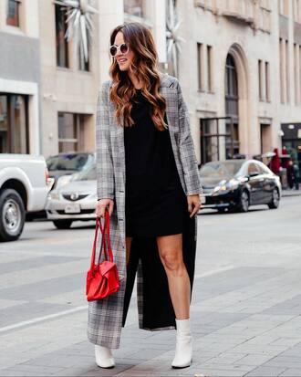 coat tumblr long coat grey long coat grey coat plaid plaid coat dress black dress mini dress red bag bag boots white boots