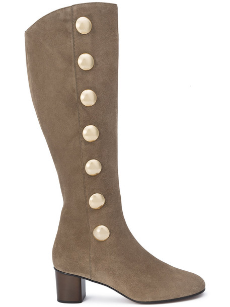 Chloe high women knee high knee high boots leather nude suede shoes