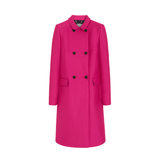 Double breasted coat in cerise wool silk double crepe