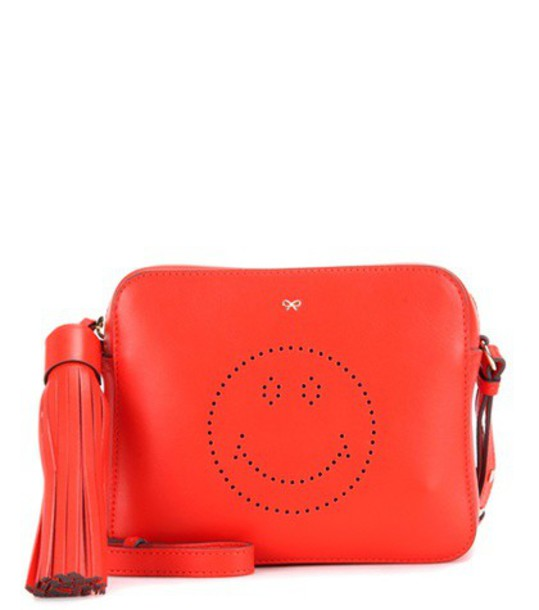 Anya Hindmarch cross smiley bag leather orange