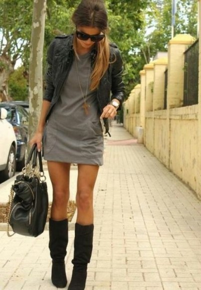 dress grey dress grey casual cute girl