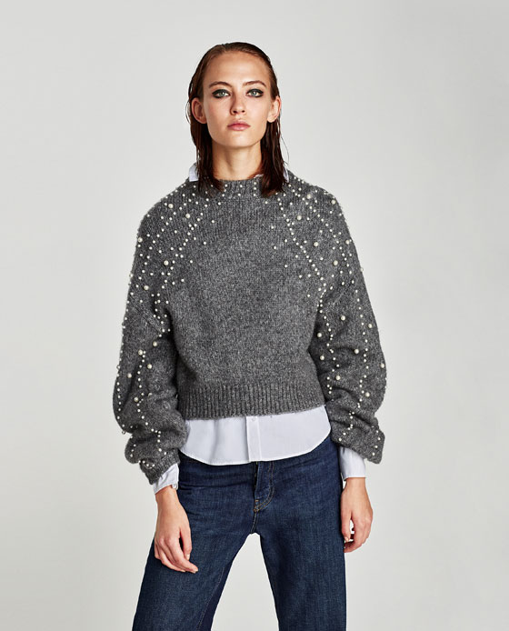 SWEATER WITH FAUX PEARLS - Sweaters-KNITWEAR-WOMAN | ZARA United ...