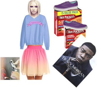 shirt tracy morgan tracy jordan tj hot pockets pizza skateboard ombre ombre skirt food foooood purple keds
