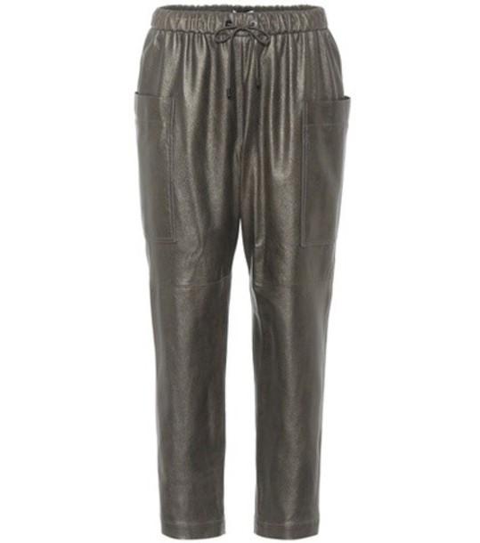 BRUNELLO CUCINELLI metallic leather pants