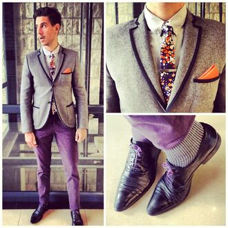 jacket tumblr whatmyboyfriendwore blazer shoes prom purple chinos pants fancy dapper tie colorful indigo cotton h&m orange guys menswear retro vintage suit tuxedo clothes cotton on shirt sergio ines floral dress up gentleman lined splatter gq calvin klein pocket square piped blue piped blazer mens sexy socks prom menswear coat purple shoes purple jeans hipster hipster menswear style grey black trim purple suit mens blazer black