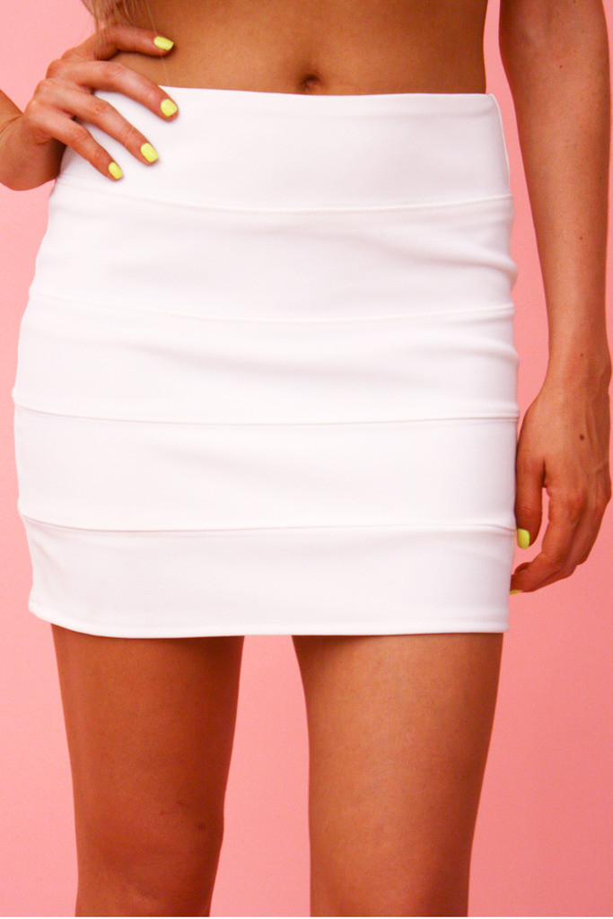 LANA BANDAGE MINI SKIRT - White | Haute & Rebellious