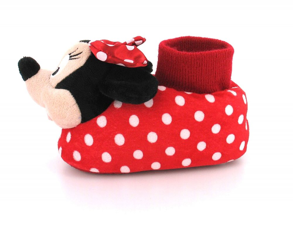 Minnie Mouse Mm Polka Childrens / Girls Minnie Mouse 3D Head Slipper With Sock Style Cuff To Ankle | Red/Black | Wynsors