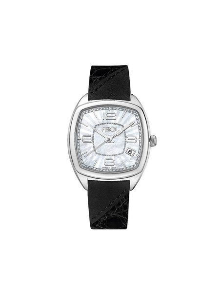 Fendi - Momento Fendi watch - women - Calf Leather/Aligator Leather/metal - One Size, Black