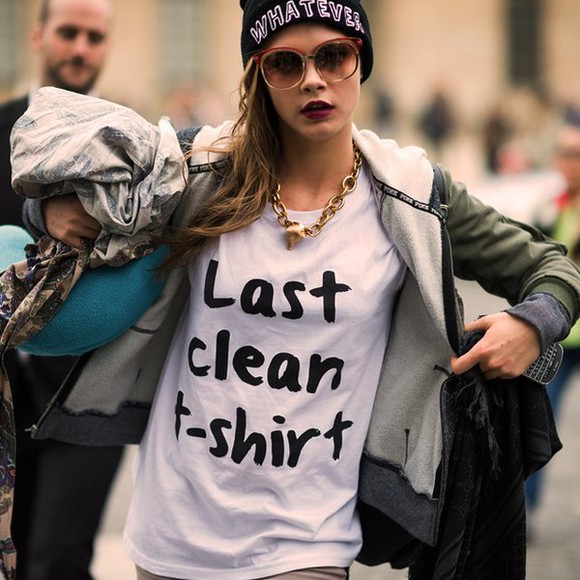 cara delevingne t-shirt what ever quote on it