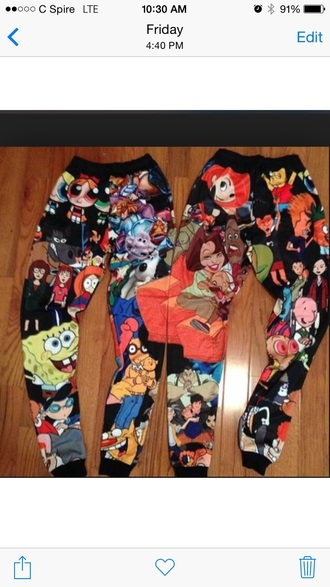 pants clothes joggers cartoon characters tight