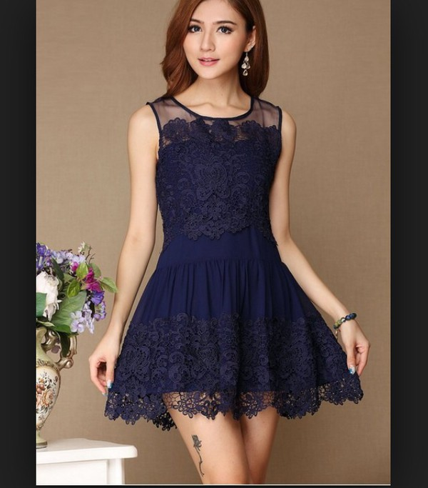 blue lace hollow out dress