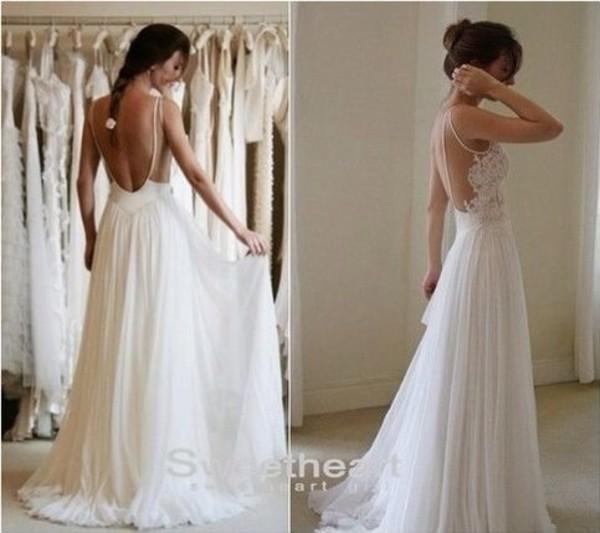 Buy 2014 custom made sexy low cut chiffon for Low cut back wedding dress