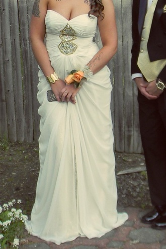 dress white dress gold sequins strapless dresses