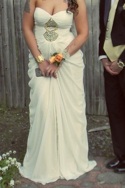 dress white dress gold sequins strapless dress