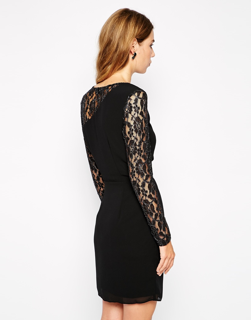 Sugarhill Boutique Lena Bodycon Dress With Lace Sleeves at asos.com